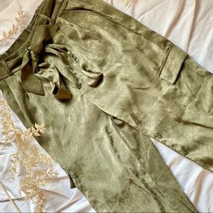 UO Satin olive green pants